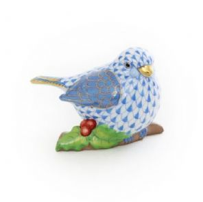 Herend Porcelain Fishnet Figurine of a Chubby Bird on Twig